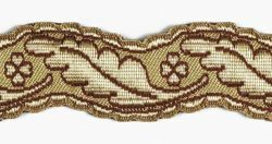 Picture of Galloon Column and Four-leaf clover H. cm 4 (1,6 inch) Metallic thread Fabric high content of Gold Bordeaux Trim Orphrey Banding for liturgical Vestments