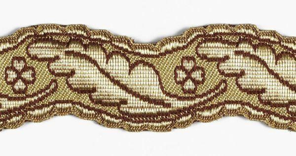 Imagen de Galón Columna Trébol cuatro hojas H. cm 4 (1,6 inch) Tejido en hilo metálico alto contenido Oro Burdeos para Vestiduras litúrgicas