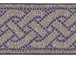 Imagen de Galón Hilo dorado Mosaico H. cm 9 (3,5 inch) Tejido Poliéster Acetato Amarillo Rojo Verde Oliva Morado Amarillo Oro Burdeos para Vestiduras litúrgicas
