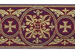 Picture of Galloon Golden Thread Gerbera H. cm 9 (3,5 inch) Polyester and Acetate Fabric White Yellow Light blue Brown Rosewood Violet Red Red Crimson White Gold White Havana Trim Orphrey Banding for liturgical Vestments