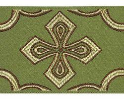 Immagine di Gallone Filo oro Croce nella Croce H. cm 9 (3,5 inch) Poliestere Acetato Rosso Celeste Verde Giallo Oro Viola Bianco/Giallo Tessuto per Paramenti liturgici
