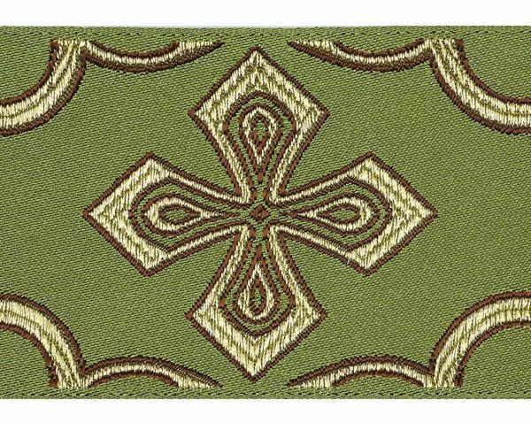 Picture of Galloon Golden Thread Cross H. cm 9 (3,5 inch) Polyester and Acetate Fabric Red Celestial Olive Green Yellow Gold Violet White Yellow Trim Orphrey Banding for liturgical Vestments