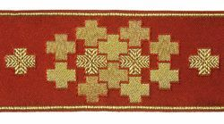 Picture of Galloon Golden Thread Modular crosses H. cm 9 (3,5 inch) Polyester and Acetate Fabric Yellow White Yellow Red Crimson White Gold White Pink Antique Gold Trim Orphrey Banding for liturgical Vestments