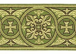 Picture of Galloon Golden Thread Gerbera H. cm 9 (3,5 inch) Polyester and Acetate Fabric Red Celestial Olive Green Violet Yellow Trim Orphrey Banding for liturgical Vestments