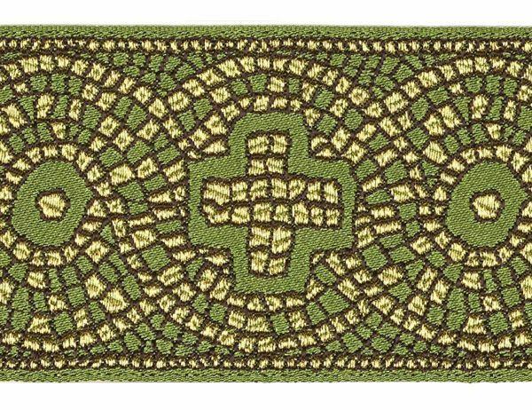 Immagine di Gallone Filo oro Croce Mosaico H. cm 9 (3,5 inch) Poliestere Acetato Rosso Celeste Verde Viola Giallo Zecchino Tessuto per Paramenti liturgici