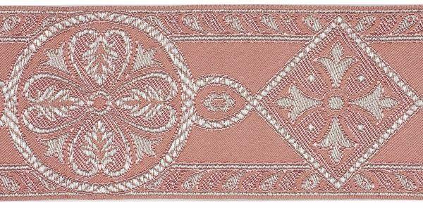 Immagine di Gallone Bizantino filo argento H. cm 9 (3,5 inch) Poliestere Acetato Nero Rosa Tessuto per Paramenti liturgici