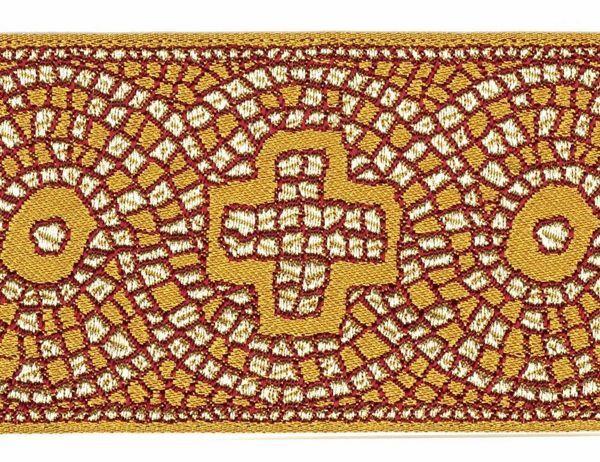 Immagine di Gallone Filo oro Croce Mosaico antico H. cm 9 (3,5 inch) Poliestere Acetato Tessuto per Paramenti liturgici