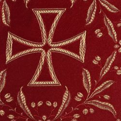 Picture of Lampas (Lampasso) Crosses Olive tree H. cm 160 (63 inch) Polyester Acetate Fabric Red Yellow Gold Violet Green Flag White for liturgical Vestments