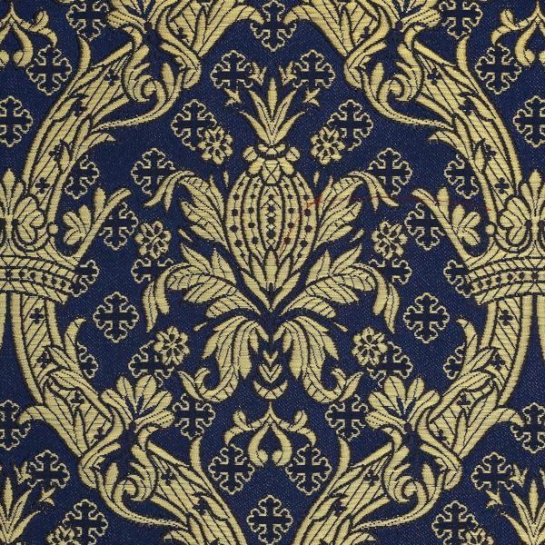 Picture of Royal Brocade Gold H. cm 160 (63 inch) Polyester Acetate Fabric White Pink Blue Night Ivory Bordeaux White Pink Antique Gold for liturgical Vestments