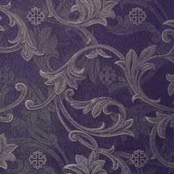 Picture of Ramage Filigree Damask H. cm 160 (63 inch) Acetate Viscose Fabric Red Olive Green Violet Ivory for liturgical Vestments