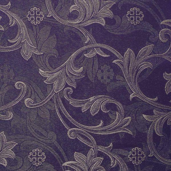 Immagine di Damasco filigranato ramage H. cm 160 (63 inch) Acetato Viscosa Rosso Verde Viola Avorio Tessuto per Paramenti liturgici