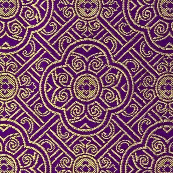 Immagine di Broderie Ricamo Rombi Crociati H. cm 160 (63 inch) Acetato Poliestere Rosso Verde Giallo Oro Viola Bianco Tessuto per Paramenti liturgici