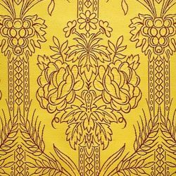 Picture of Floral Drape H. cm 160 (63 inch) Yellow Gold Polyester Viscose Fabric for liturgical Vestments