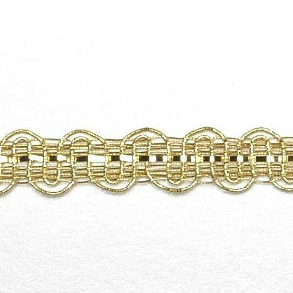 Picture of Agremano Braided Trim gold metal Embroidery H. cm 0,6 (0,24 inch) Metallic thread and Viscose Border Edge Trimming for liturgical Vestments