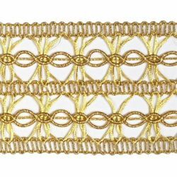Picture of Agremano Braided Trim gold Vergolina H. cm 5 (2,0 inch) Viscose Polyester Border Edge Trimming for liturgical Vestments