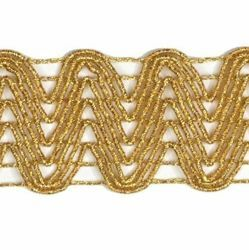 Picture of Agremano Braided Trim gold H. cm 3 (1,2 inch) Viscose Polyester Border Edge Trimming for liturgical Vestments