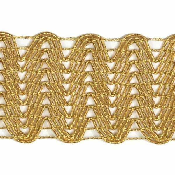 Picture of Agremano Braided Trim gold H. cm 5 (2,0 inch) Viscose Polyester Border Edge Trimming for liturgical Vestments