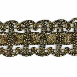 Picture of Agremano Braided Trim antique gold liserè H. cm 2,5 (0,98 inch) Viscose Polyester Border Edge Trimming for liturgical Vestments