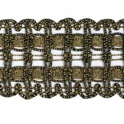 Picture of Agremano Braided Trim antique gold liserè H. cm 4 (1,6 inch) Viscose Polyester Border Edge Trimming for liturgical Vestments