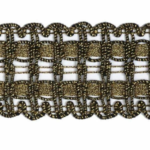 Immagine di Agremano liserè oro antico H. cm 4 (1,6 inch) Viscosa Poliestere Orlo Bordo Passamaneria per Paramenti sacri