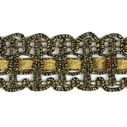 Picture of Agremano Braided Trim antique and classic gold liserè H. cm 2,5 (0,98 inch) Viscose Polyester Border Edge Trimming for liturgical Vestments