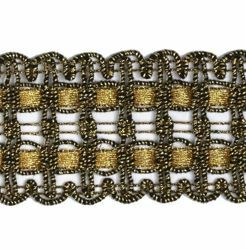 Picture of Agremano Braided Trim antique and classic gold liserè H. cm 4 (1,6 inch) Viscose Polyester Border Edge Trimming for liturgical Vestments