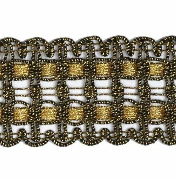 Immagine di Agremano liserè oro antico classico H. cm 4 (1,6 inch) Viscosa Poliestere Orlo Bordo Passamaneria per Paramenti sacri