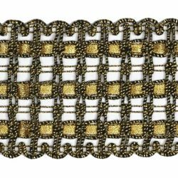 Picture of Agremano Braided Trim antique and classic gold liserè H. cm 6,5 (2,56 inch) Viscose Polyester Border Edge Trimming for liturgical Vestments
