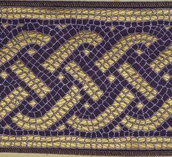 Immagine di Stolone Filo oro Mosaico H. cm 18 (7,1 inch) Poliestere Acetato Rosso Verde Viola Bianco Bianco/Rosa/Oro Antico Tessuto per Paramenti liturgici