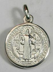 Immagine di Medaglia Pendente Argento 925 San Benedetto tonda Unisex Donna Uomo