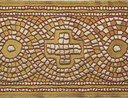 Immagine di Stolone Croce Mosaico antico H. cm 18 (7,1 inch) Poliestere Acetato Tessuto per Paramenti liturgici