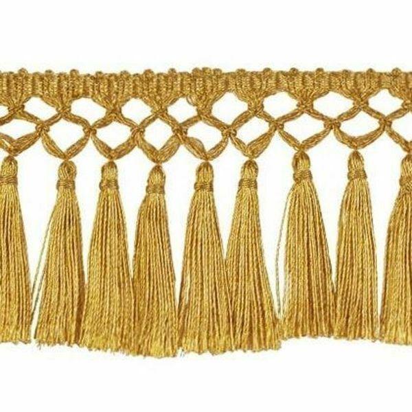 Imagen de Franja oro anudada a mano H. cm 8 (3,1 inch) en hilo metálico Viscosa Pasamanería para Vestiduras litúrgicas