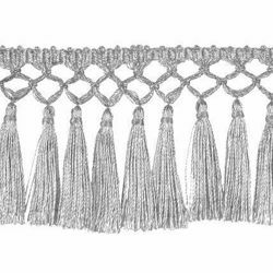 Picture of Hand-knotted silver Fringe Trim for liturgical Vestments H. cm 8 (3,1 inch) Metallic thread Viscose Passementerie for liturgical Vestments