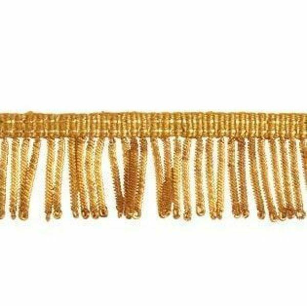 Immagine di Frangia Canuttiglia oro 300 Vermiglioni H. cm 3 (1,2 inch) filato metallico Viscosa Passamaneria per Paramenti Sacri