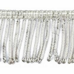 Picture of Fringe Trim Bullion 300 Silver threads H. cm 4 (1,6 inch) Metallic thread Viscose Passementerie for liturgical Vestments
