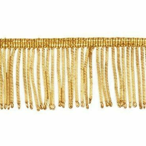 Picture of Fringe Trim Bullion 300 gold threads H. cm 5 (2,0 inch) Metallic thread Viscose Passementerie for liturgical Vestments
