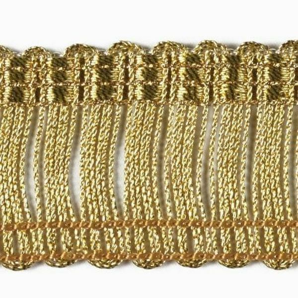 Picture of Cord Fringe Trim Gold H. cm 3 (1,2 inch) Viscose Polyester Brilliant Gold Passementerie for liturgical Vestments