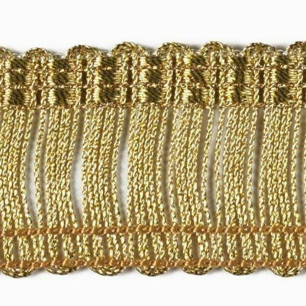Immagine di Frangia a cordonetto Damina oro H. cm 3 (1,2 inch) Viscosa Poliestere Oro Passamaneria per Paramenti Sacri