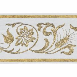 Picture of Trim Gold Grape Wheat leaves H. cm 10 (3,9 inch) Cotton blend Border Braid Passementerie for liturgical Vestments