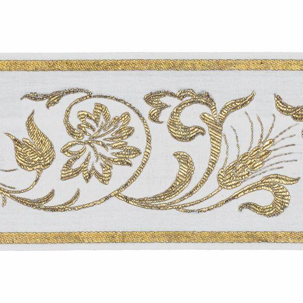 Picture of Trim Gold Grape Wheat leaves H. cm 10 (3,9 inch) Cotton blend Border Braid Passementerie for liturgical Vestments
