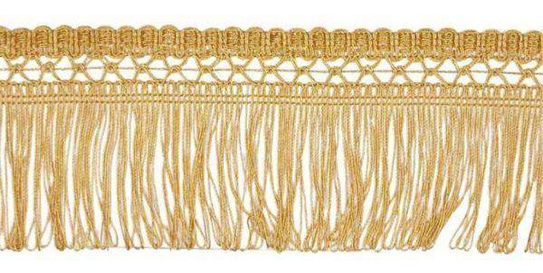 Immagine di Frangia a cordonetto oro metallo H. cm 8 (3,1 inch) Viscosa Poliestere Passamaneria per Paramenti Sacri