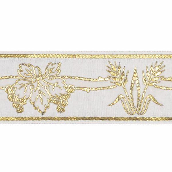 Imagen de Borde oro Uvas Espigas H. cm 5 (2,0 inch) mezcla Algodón Ribete para Vestiduras litúrgicas