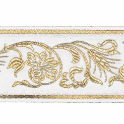 Picture of Trim Gold Grape Wheat leaves H. cm 5 (2,0 inch) Cotton blend Border Braid Passementerie for liturgical Vestments