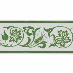 Immagine di Bordo Foglie di Vite Spiga H. cm 10 (3,9 inch) misto Cotone Verde Avana Rosso Viola Orlo Passamaneria per Paramenti Sacri