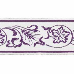 Imagen de Borde Hojas de Uva Trigo H. cm 5 (2,0 inch) mezcla Algodón Verde Brillante Habana Brillante Rojo Brillante Morado Brillante Ribete para Vestiduras litúrgicas