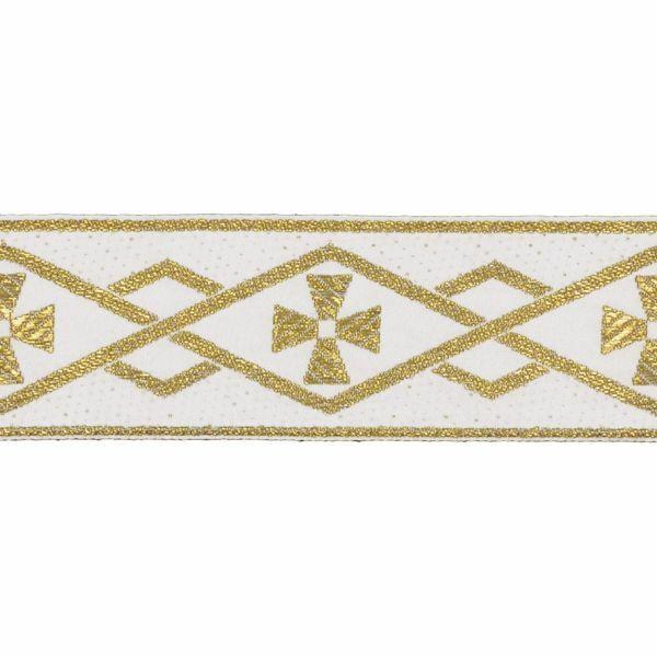 Imagen de Borde oro geométrico H. cm 5 (2,0 inch) mezcla Algodón Ribete para Vestiduras litúrgicas