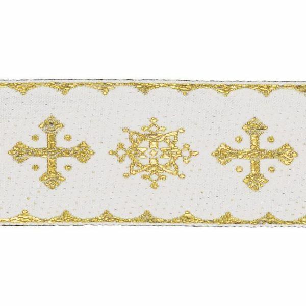 Immagine di Bordo oro Crociato H. cm 5 (2,0 inch) misto Cotone Orlo Passamaneria per Paramenti Sacri