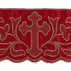 Picture of Lace Cross H. cm 12,5 (4,9 inch) Pure Polyester Red Violet Ivory Lacework Edging for liturgical Vestments