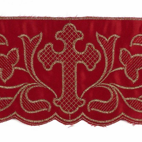 Imagen de Encaje satén Cruz H. cm 12,5 (4,9 inch) Poliéster puro Rojo Morado Marfil Puntilla Bolillo Bordado para Vestiduras litúrgicas