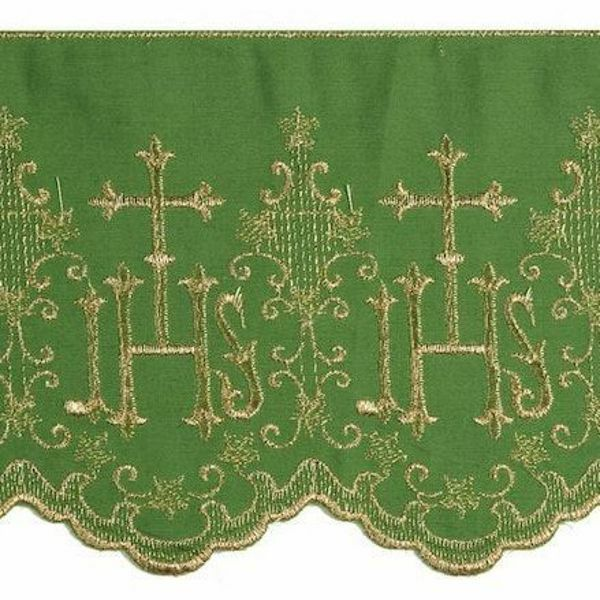 Picture of Lace JHS symbol H. cm 14 (5,5 inch) Pure Cotton Red Olive Green Violet Brilliant Gold White/Gold Lacework Edging for liturgical Vestments